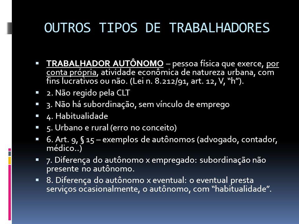 OUTROS TIPOS DE TRABALHADORES  TRABALHADOR AUTÔNOMO – pessoa física que exerce, por conta própria, atividade econômica de natureza urbana, com fins l