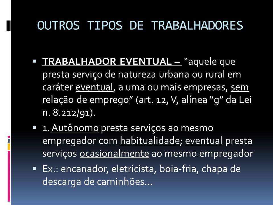 """OUTROS TIPOS DE TRABALHADORES  TRABALHADOR EVENTUAL – """"aquele que presta serviço de natureza urbana ou rural em caráter eventual, a uma ou mais empre"""