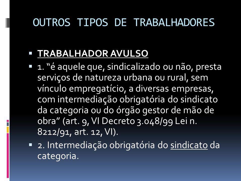 """OUTROS TIPOS DE TRABALHADORES  TRABALHADOR AVULSO  1. """"é aquele que, sindicalizado ou não, presta serviços de natureza urbana ou rural, sem vínculo"""