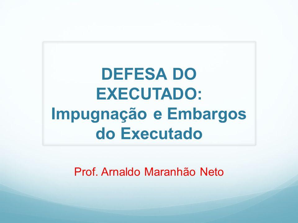 DEFESA DO EXECUTADO: Impugnação e Embargos do Executado Prof. Arnaldo Maranhão Neto