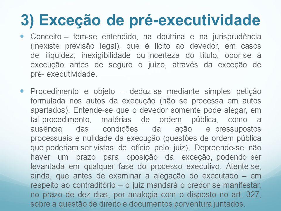 3) Exceção de pré-executividade Conceito – tem-se entendido, na doutrina e na jurisprudência (inexiste previsão legal), que é lícito ao devedor, em ca