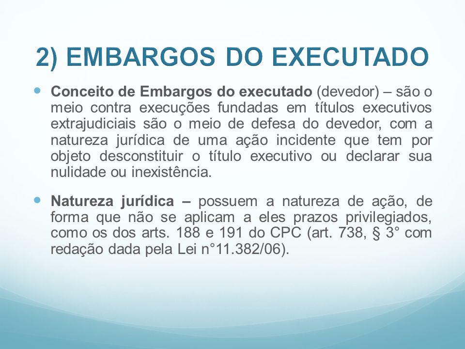Conceito de Embargos do executado (devedor) – são o meio contra execuções fundadas em títulos executivos extrajudiciais são o meio de defesa do devedo