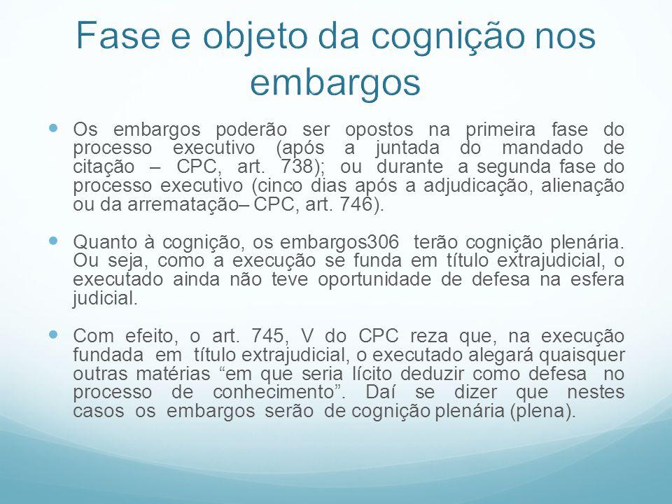 Os embargos poderão ser opostos na primeira fase do processo executivo (após a juntada do mandado de citação – CPC, art. 738); ou durante a segunda fa