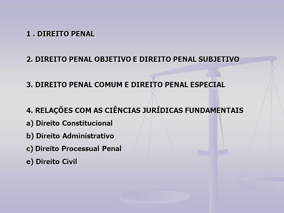 1. DIREITO PENAL 2. DIREITO PENAL OBJETIVO E DIREITO PENAL SUBJETIVO 3. DIREITO PENAL COMUM E DIREITO PENAL ESPECIAL 4. RELAÇÕES COM AS CIÊNCIAS JURÍD