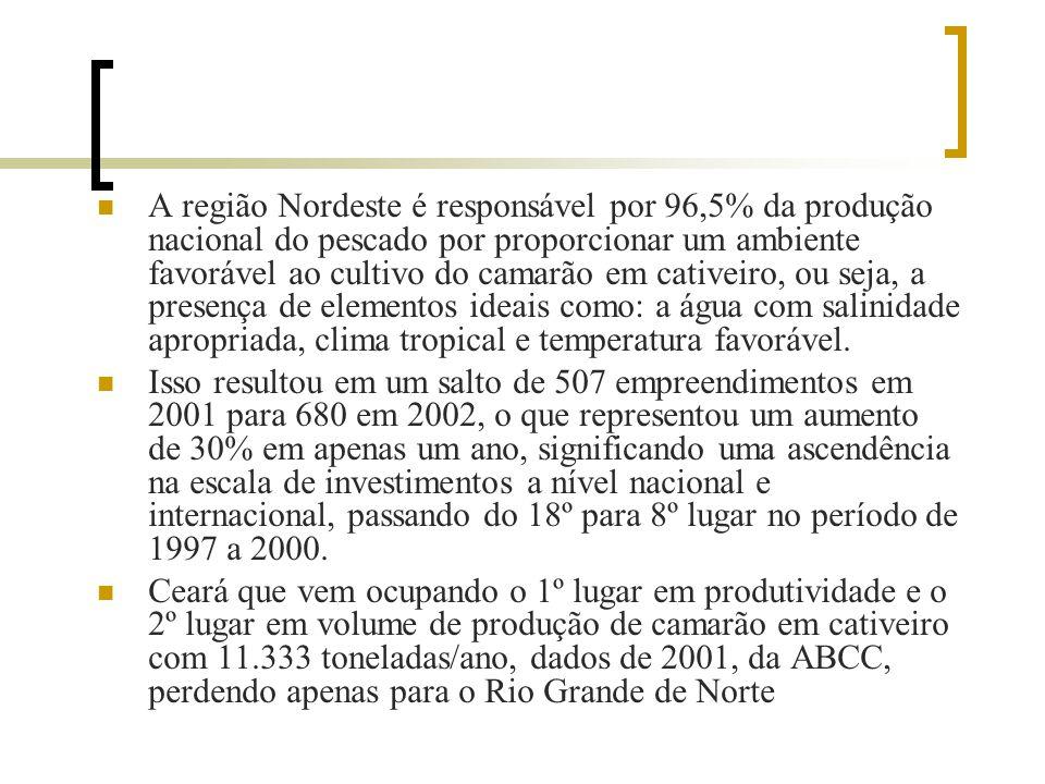 O Brasil destaca-se no cenário mundial na produção de camarão entre os países produtores de camarão, ocupando o sexto lugar no mundo e o primeiro na A