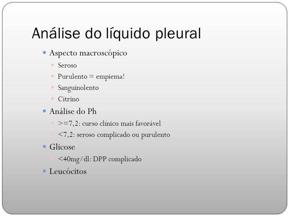 Análise do líquido pleural Aspecto macroscópico Seroso Purulento = empiema.