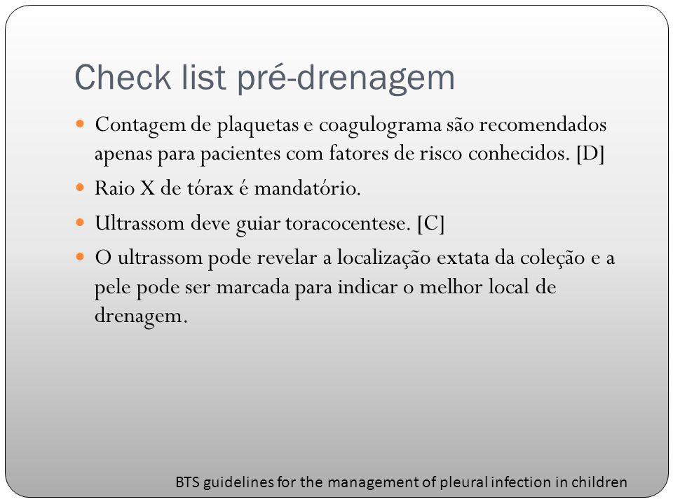 Check list pré-drenagem Contagem de plaquetas e coagulograma são recomendados apenas para pacientes com fatores de risco conhecidos.