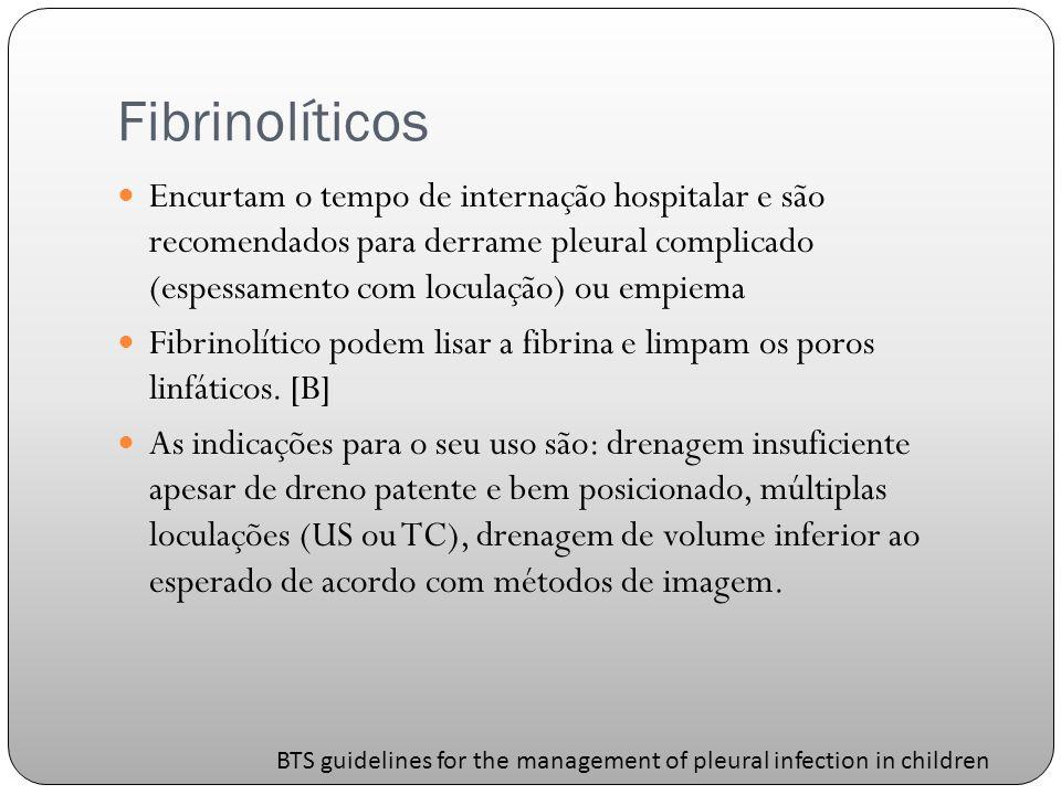 Fibrinolíticos Encurtam o tempo de internação hospitalar e são recomendados para derrame pleural complicado (espessamento com loculação) ou empiema Fibrinolítico podem lisar a fibrina e limpam os poros linfáticos.