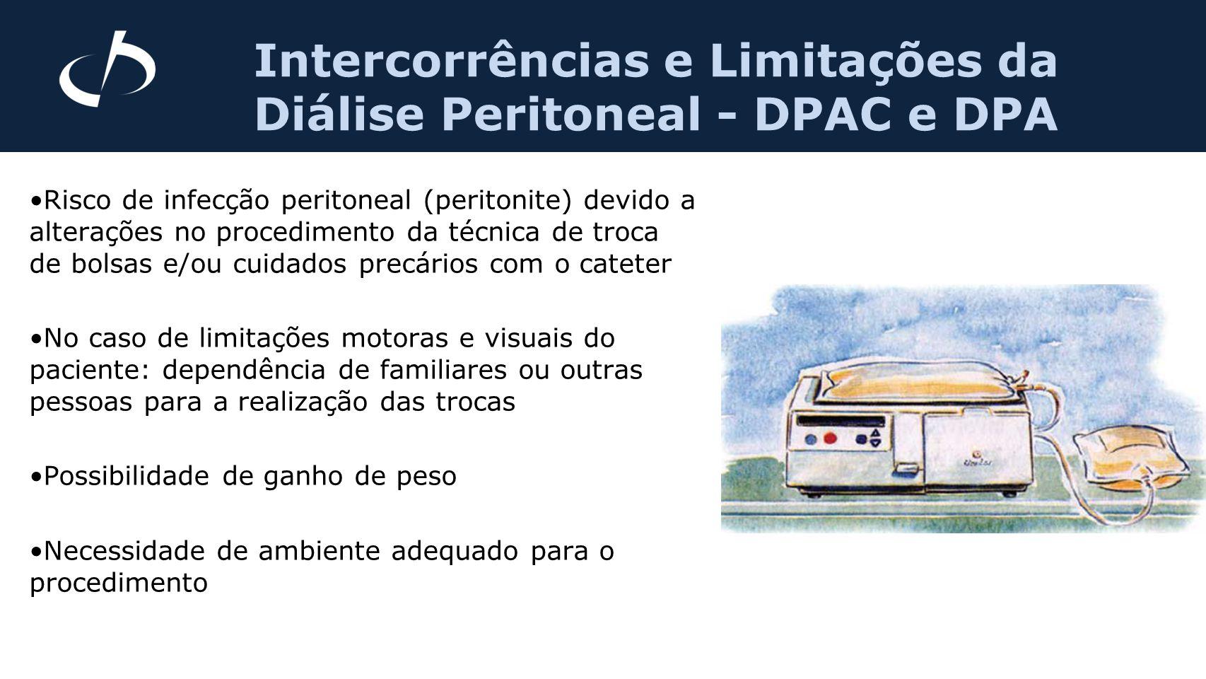 Risco de infecção peritoneal (peritonite) devido a alterações no procedimento da técnica de troca de bolsas e/ou cuidados precários com o cateter No c