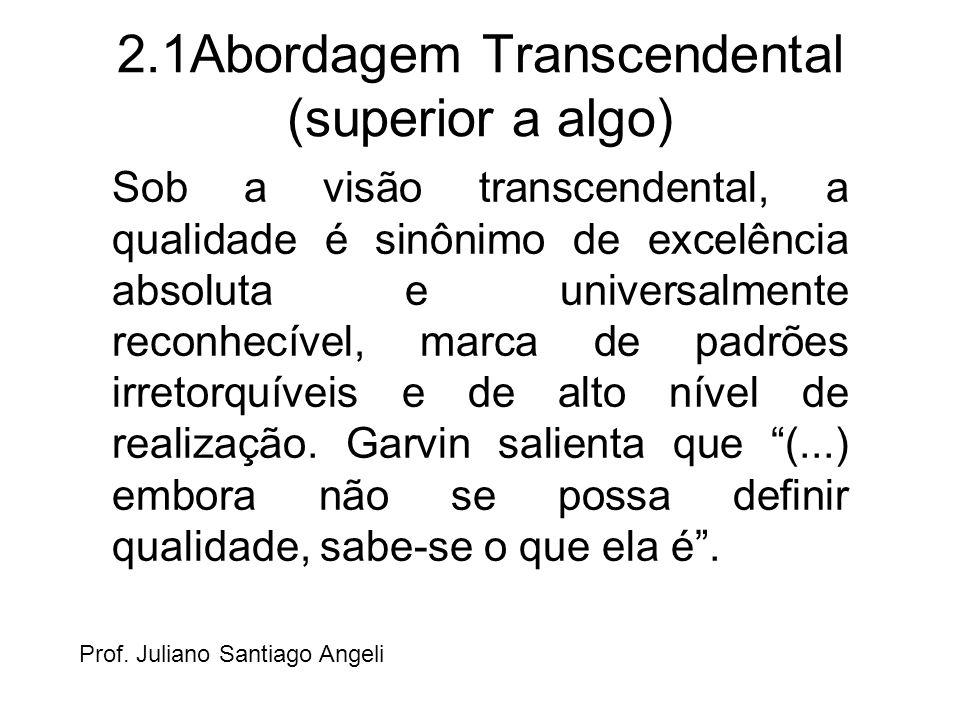 2.1Abordagem Transcendental (superior a algo) Sob a visão transcendental, a qualidade é sinônimo de excelência absoluta e universalmente reconhecível,
