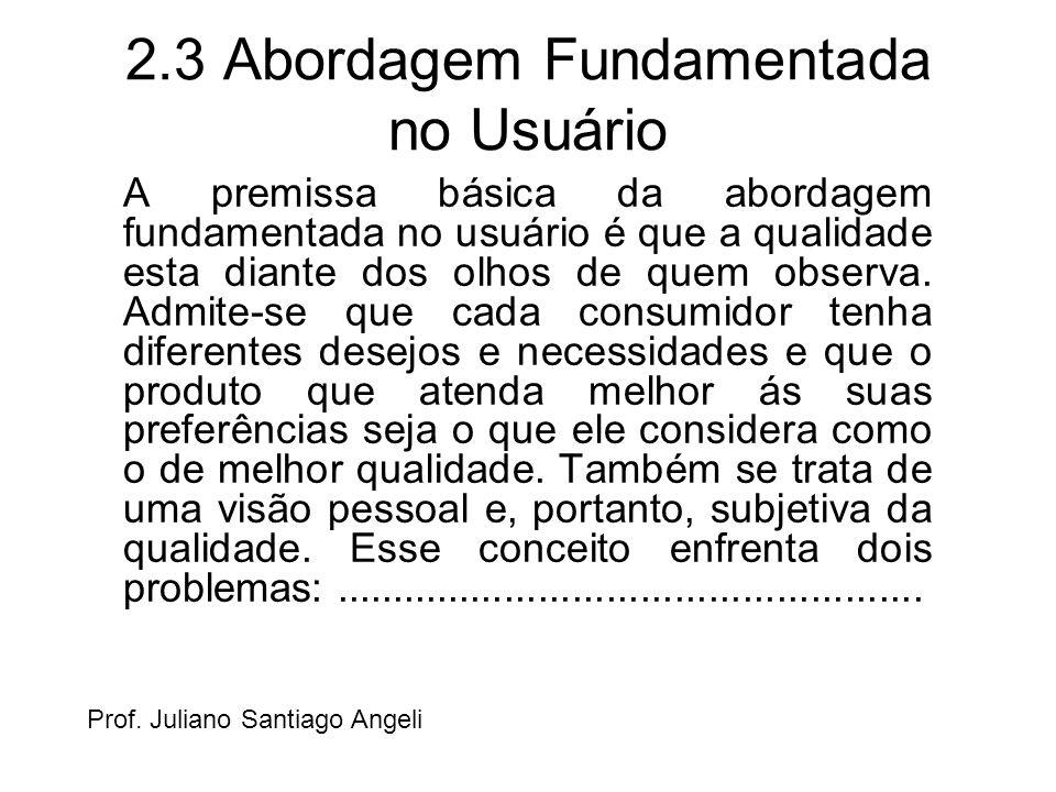 2.3 Abordagem Fundamentada no Usuário A premissa básica da abordagem fundamentada no usuário é que a qualidade esta diante dos olhos de quem observa.