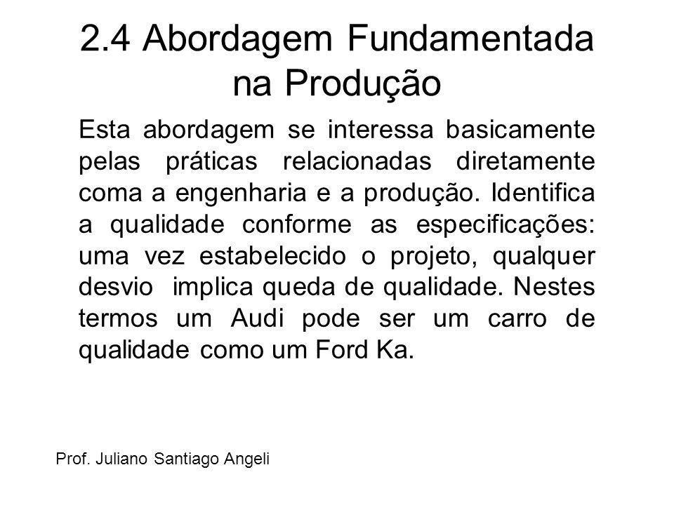 2.4 Abordagem Fundamentada na Produção Esta abordagem se interessa basicamente pelas práticas relacionadas diretamente coma a engenharia e a produção.