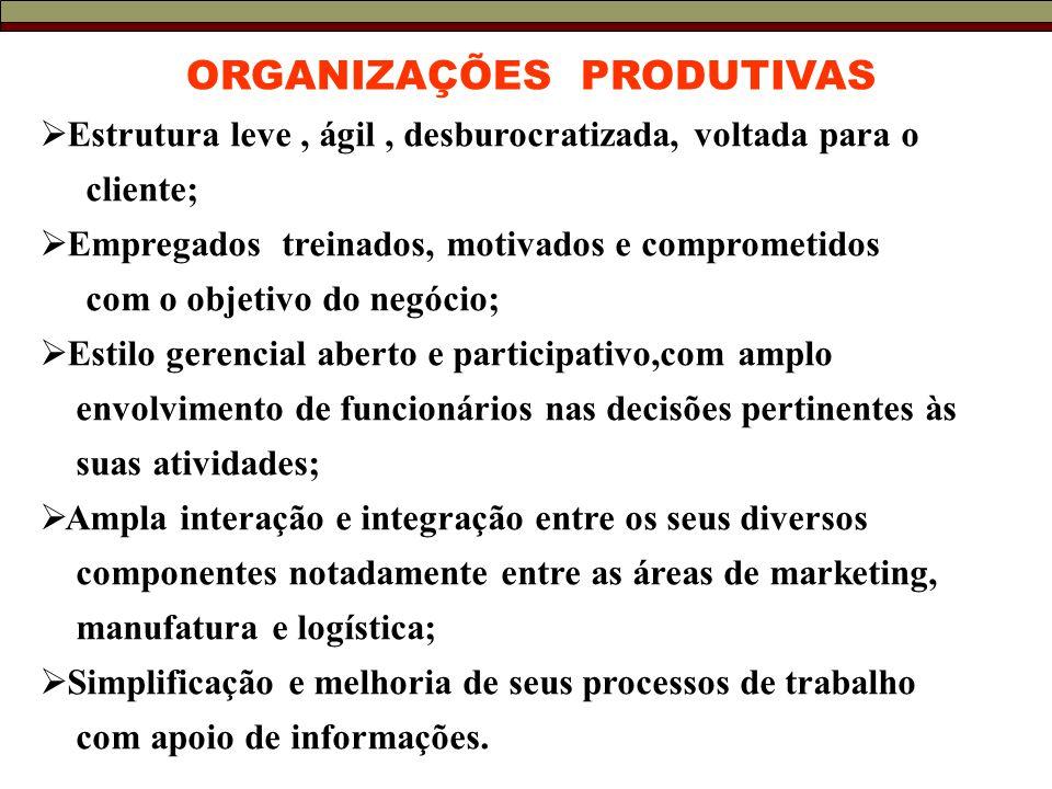 ORGANIZAÇÕES PRODUTIVAS  Estrutura leve, ágil, desburocratizada, voltada para o cliente;  Empregados treinados, motivados e comprometidos com o objetivo do negócio;  Estilo gerencial aberto e participativo,com amplo envolvimento de funcionários nas decisões pertinentes às suas atividades;  Ampla interação e integração entre os seus diversos componentes notadamente entre as áreas de marketing, manufatura e logística;  Simplificação e melhoria de seus processos de trabalho com apoio de informações.