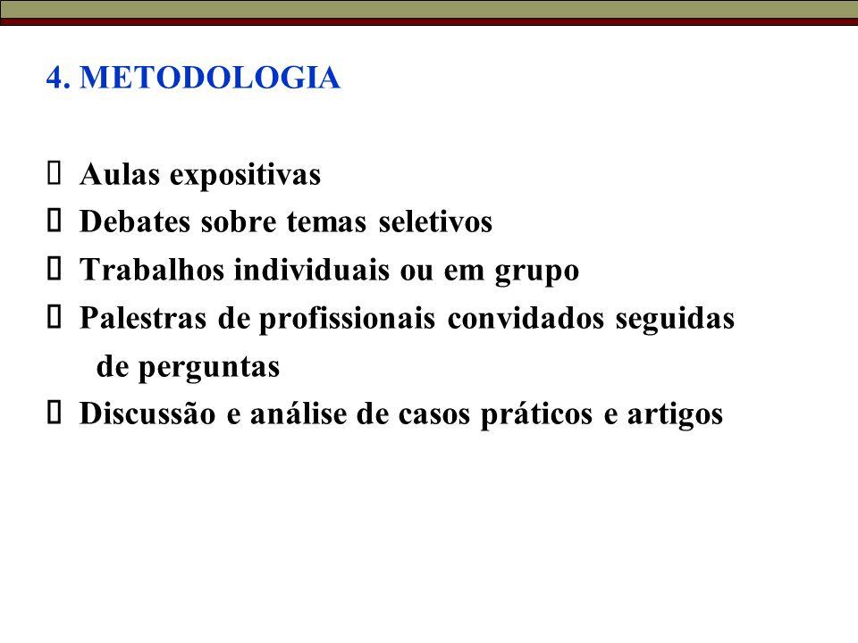 4. METODOLOGIA  Aulas expositivas  Debates sobre temas seletivos  Trabalhos individuais ou em grupo  Palestras de profissionais convidados seguida