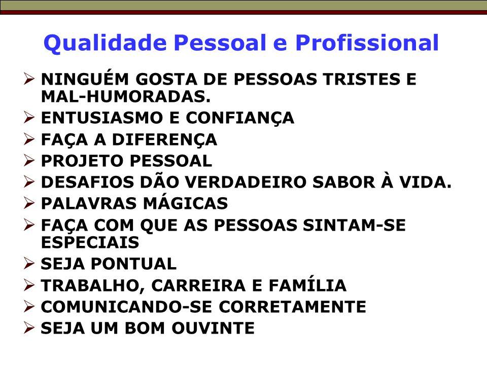 Qualidade Pessoal e Profissional  NINGUÉM GOSTA DE PESSOAS TRISTES E MAL-HUMORADAS.