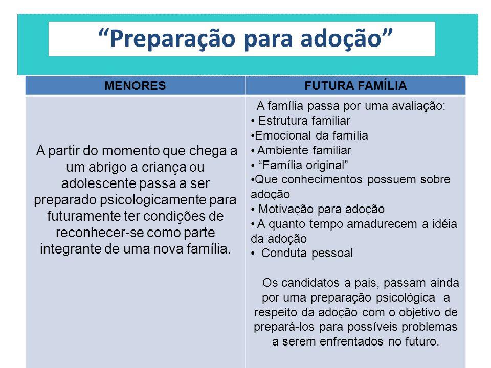 """""""Preparação para adoção"""" MENORESFUTURA FAMÍLIA A partir do momento que chega a um abrigo a criança ou adolescente passa a ser preparado psicologicamen"""
