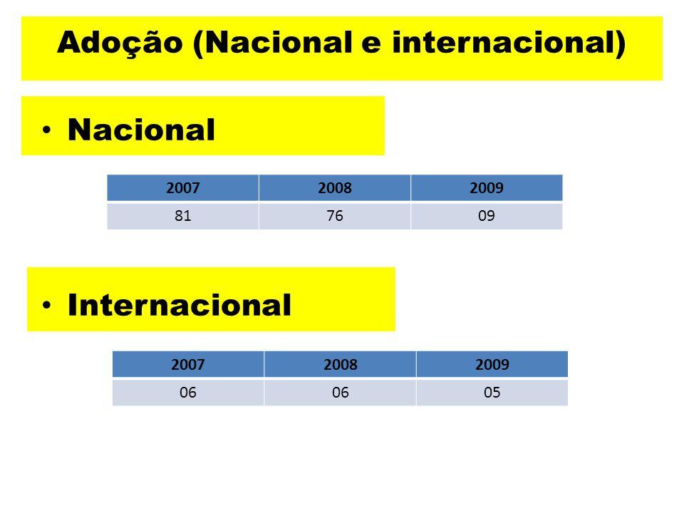 Adoção (Nacional e internacional) Nacional Internacional 200720082009 817609 200720082009 06 05