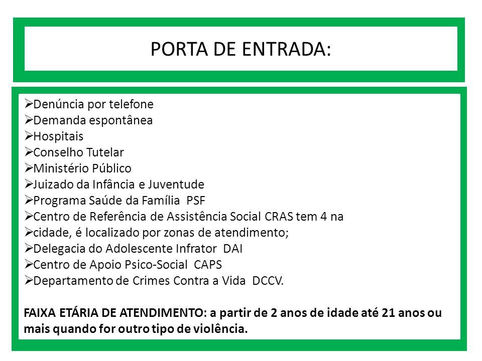 PORTA DE ENTRADA:  Denúncia por telefone  Demanda espontânea  Hospitais  Conselho Tutelar  Ministério Público  Juizado da Infância e Juventude 