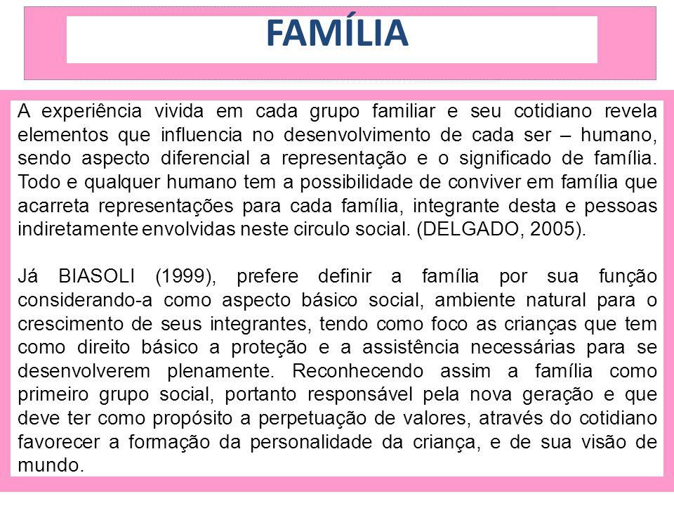 FAMÍLIA A experiência vivida em cada grupo familiar e seu cotidiano revela elementos que influencia no desenvolvimento de cada ser – humano, sendo asp