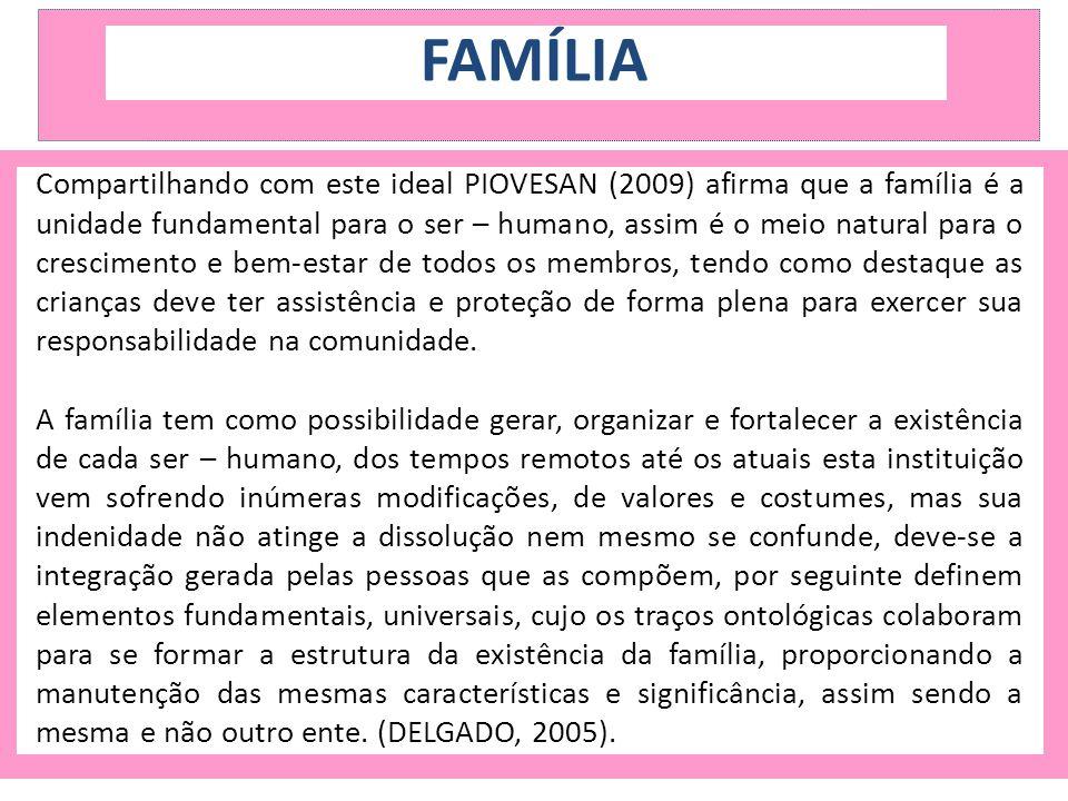 FAMÍLIA Reconhecendo que a criança, para o desenvolvimento pleno e harmonioso de sua personalidade, deve crescer m um ambiente familiar, em clima de felicidade, amor e compreensão (PIOVESAN, 2009, 471).