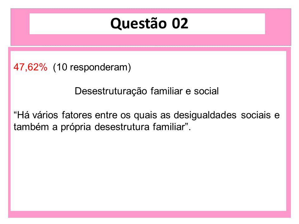 """47,62% (10 responderam) Desestruturação familiar e social """"Há vários fatores entre os quais as desigualdades sociais e também a própria desestrutura f"""