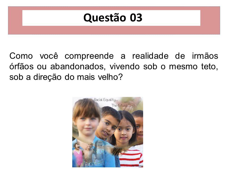 Questão 03 Como você compreende a realidade de irmãos órfãos ou abandonados, vivendo sob o mesmo teto, sob a direção do mais velho?