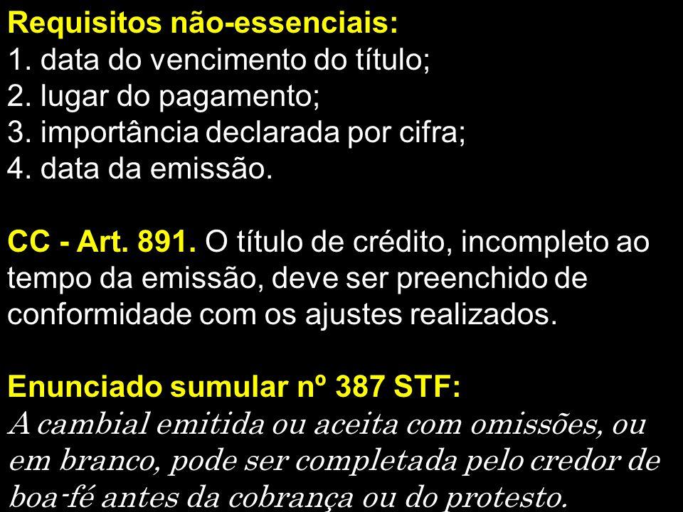 Requisitos não-essenciais: 1.data do vencimento do título; 2.