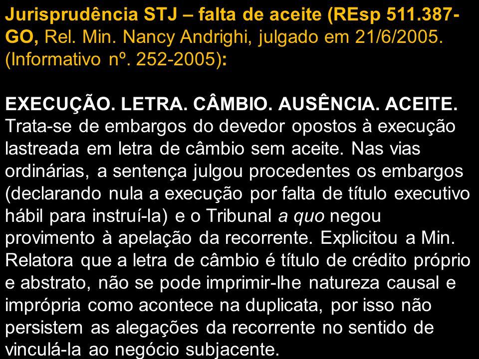 Jurisprudência STJ – falta de aceite (REsp 511.387- GO, Rel.