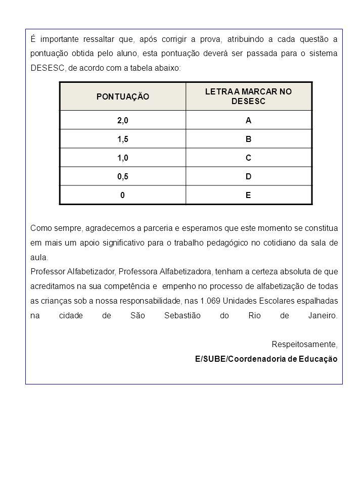 É importante ressaltar que, após corrigir a prova, atribuindo a cada questão a pontuação obtida pelo aluno, esta pontuação deverá ser passada para o s