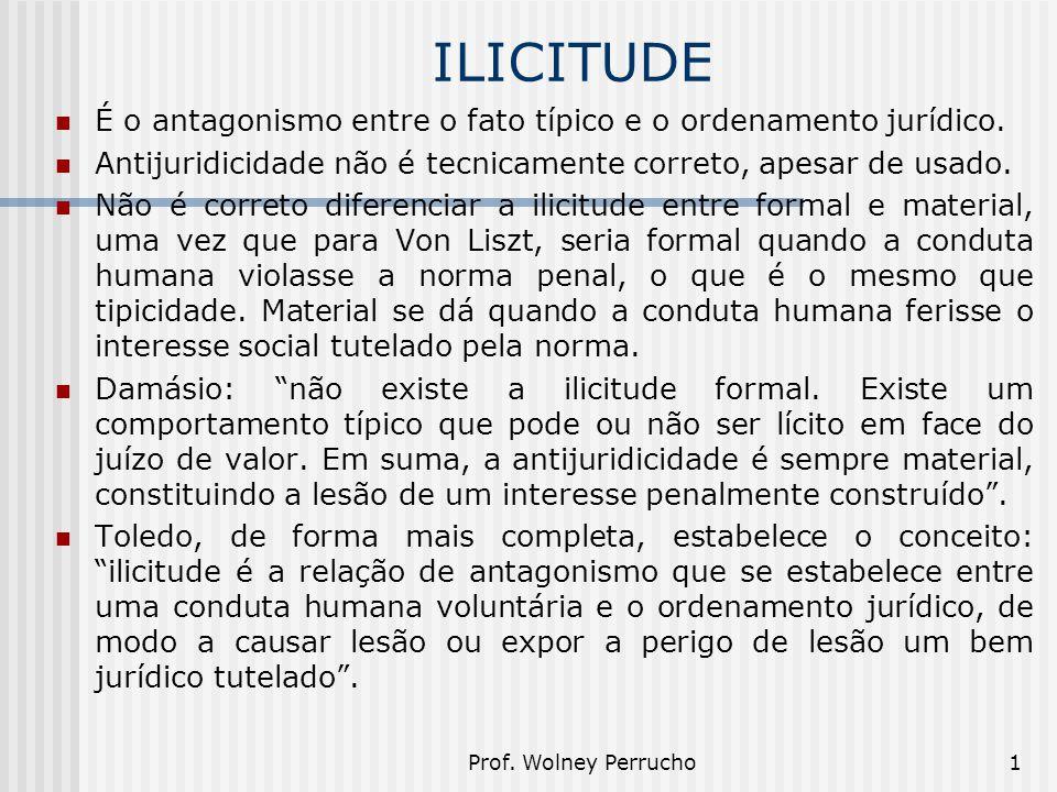 Prof. Wolney Perrucho1 ILICITUDE É o antagonismo entre o fato típico e o ordenamento jurídico. Antijuridicidade não é tecnicamente correto, apesar de