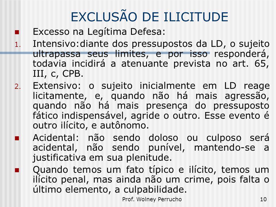 Prof. Wolney Perrucho10 EXCLUSÃO DE ILICITUDE Excesso na Legítima Defesa: 1. Intensivo:diante dos pressupostos da LD, o sujeito ultrapassa seus limite