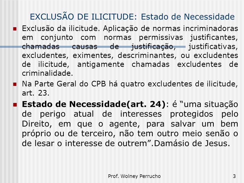 Prof. Wolney Perrucho3 EXCLUSÃO DE ILICITUDE: Estado de Necessidade Exclusão da ilicitude. Aplicação de normas incriminadoras em conjunto com normas p