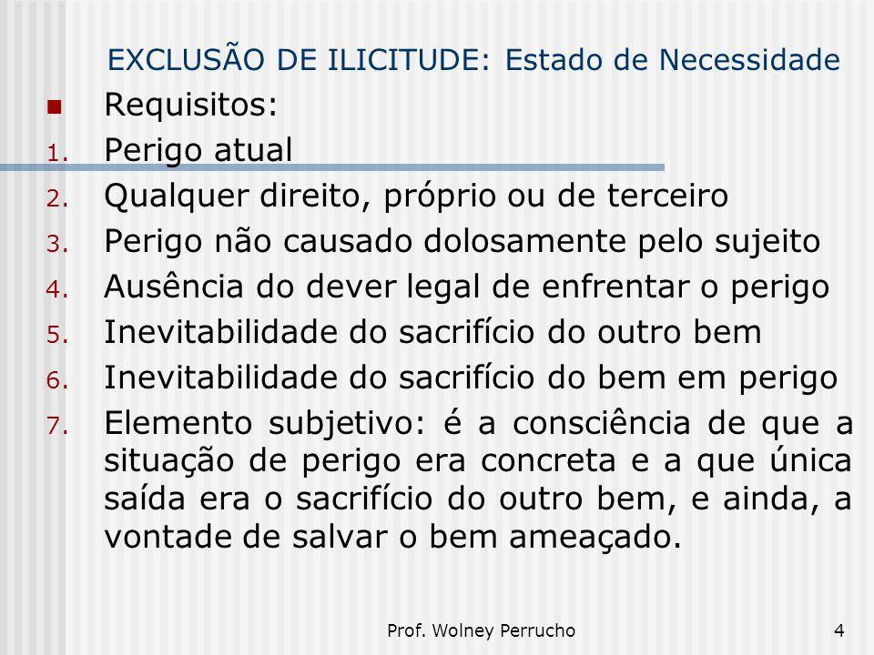 Prof. Wolney Perrucho4 EXCLUSÃO DE ILICITUDE: Estado de Necessidade Requisitos: 1. Perigo atual 2. Qualquer direito, próprio ou de terceiro 3. Perigo