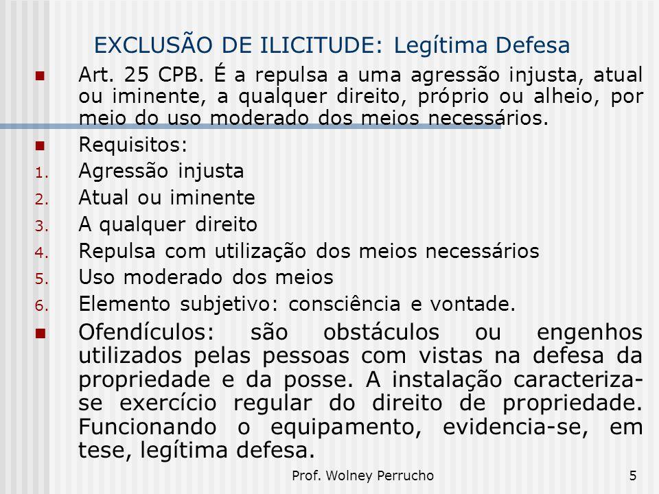 Prof. Wolney Perrucho5 EXCLUSÃO DE ILICITUDE: Legítima Defesa Art. 25 CPB. É a repulsa a uma agressão injusta, atual ou iminente, a qualquer direito,
