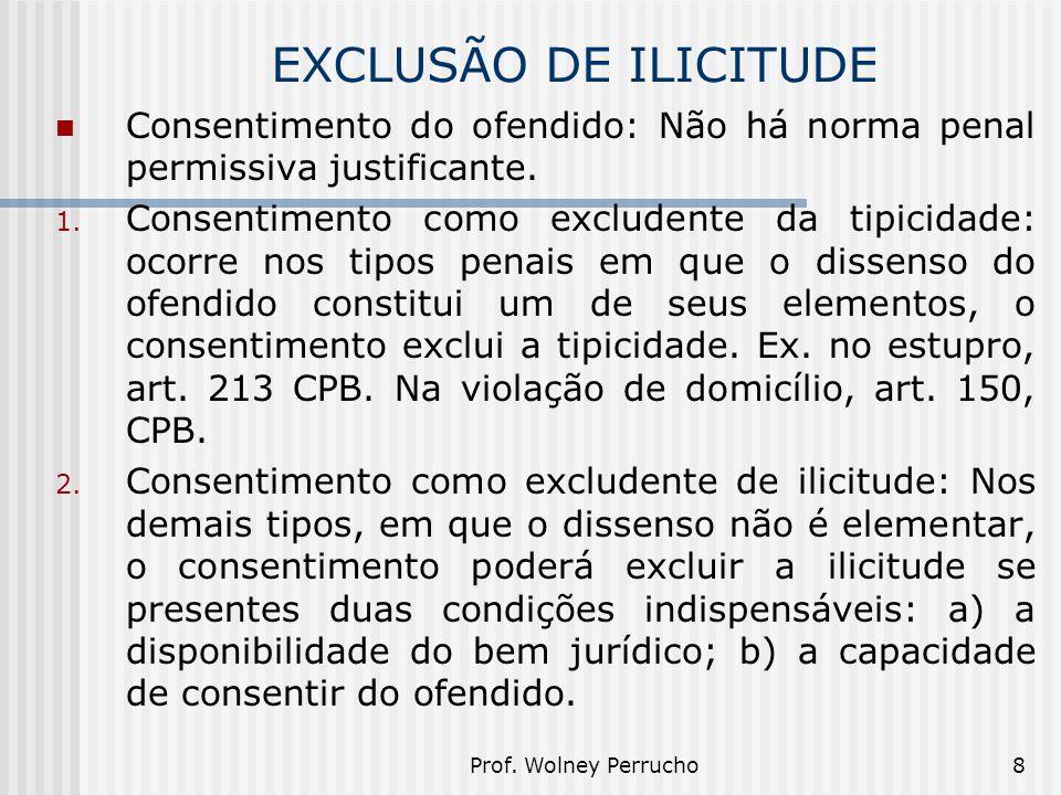 Prof. Wolney Perrucho8 EXCLUSÃO DE ILICITUDE Consentimento do ofendido: Não há norma penal permissiva justificante. 1. Consentimento como excludente d