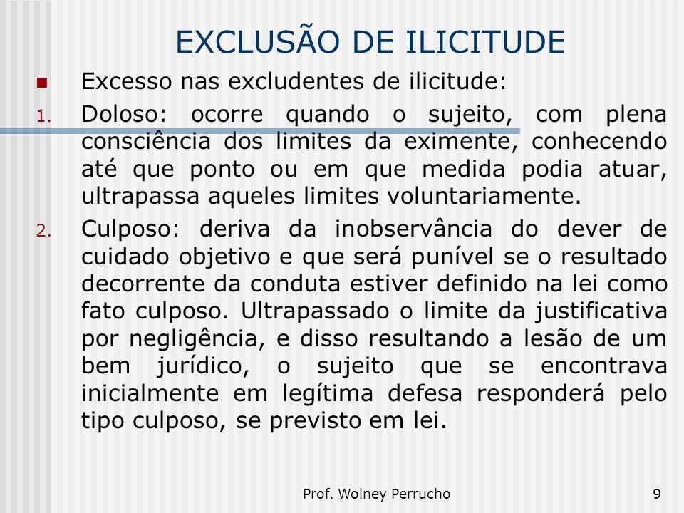 Prof. Wolney Perrucho9 EXCLUSÃO DE ILICITUDE Excesso nas excludentes de ilicitude: 1. Doloso: ocorre quando o sujeito, com plena consciência dos limit