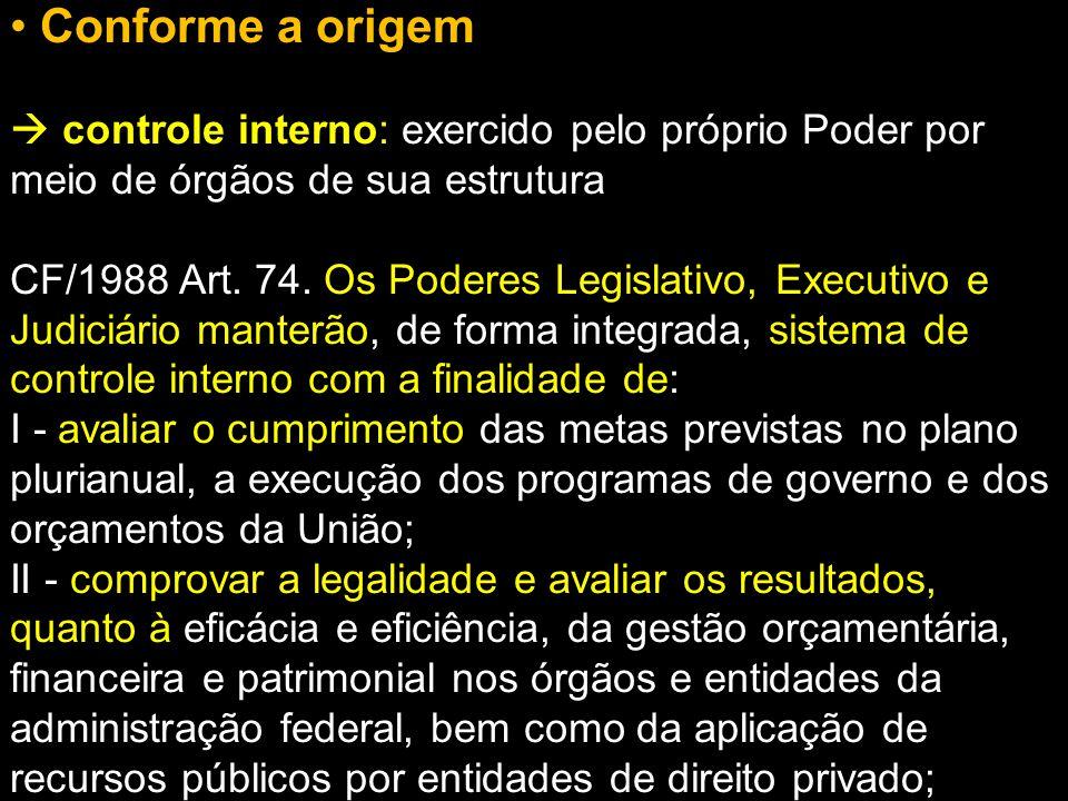 Conforme a origem  controle interno: exercido pelo próprio Poder por meio de órgãos de sua estrutura CF/1988 Art. 74. Os Poderes Legislativo, Executi