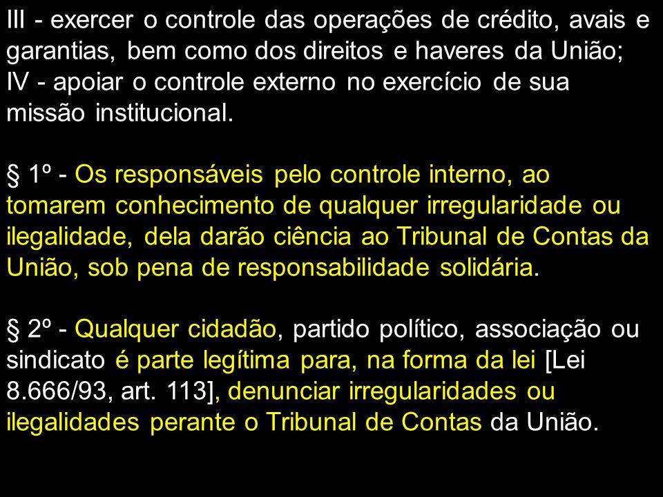 III - exercer o controle das operações de crédito, avais e garantias, bem como dos direitos e haveres da União; IV - apoiar o controle externo no exer