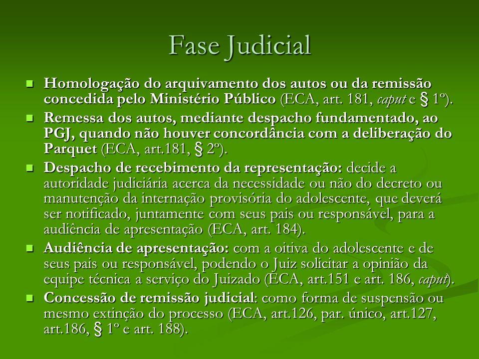 Fase Judicial Homologação do arquivamento dos autos ou da remissão concedida pelo Ministério Público (ECA, art.