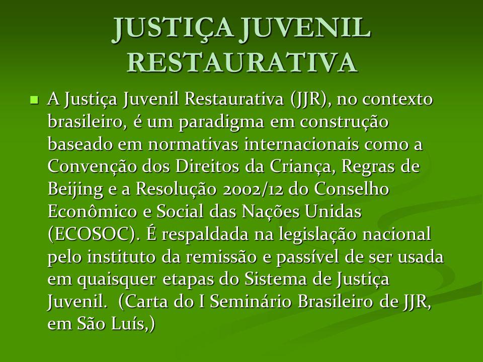 JUSTIÇA JUVENIL RESTAURATIVA A Justiça Juvenil Restaurativa (JJR), no contexto brasileiro, é um paradigma em construção baseado em normativas internacionais como a Convenção dos Direitos da Criança, Regras de Beijing e a Resolução 2002/12 do Conselho Econômico e Social das Nações Unidas (ECOSOC).