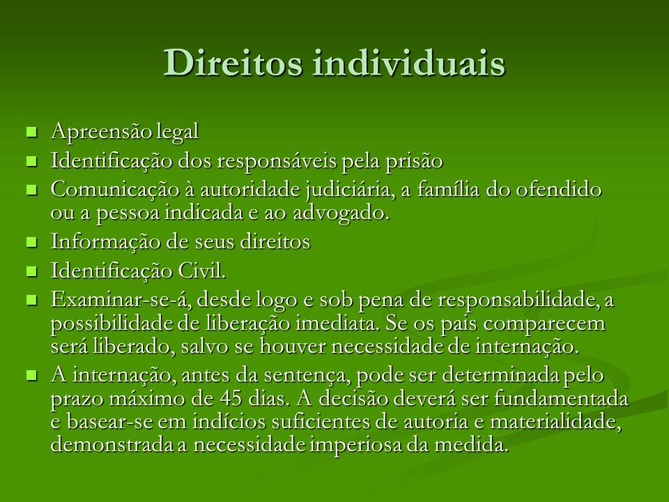 Direitos individuais Apreensão legal Apreensão legal Identificação dos responsáveis pela prisão Identificação dos responsáveis pela prisão Comunicação à autoridade judiciária, a família do ofendido ou a pessoa indicada e ao advogado.