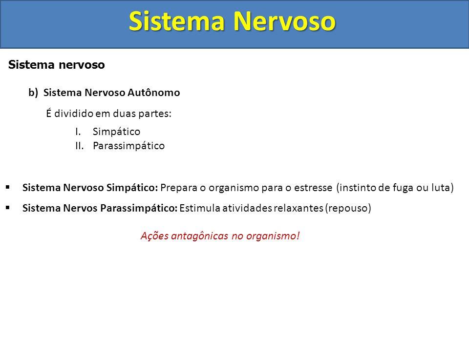 Sistema Nervoso Sistema nervoso b) Sistema Nervoso Autônomo (vegetativo ou visceral) Constituído por nervos motores que conduzem impulsos do sistema n