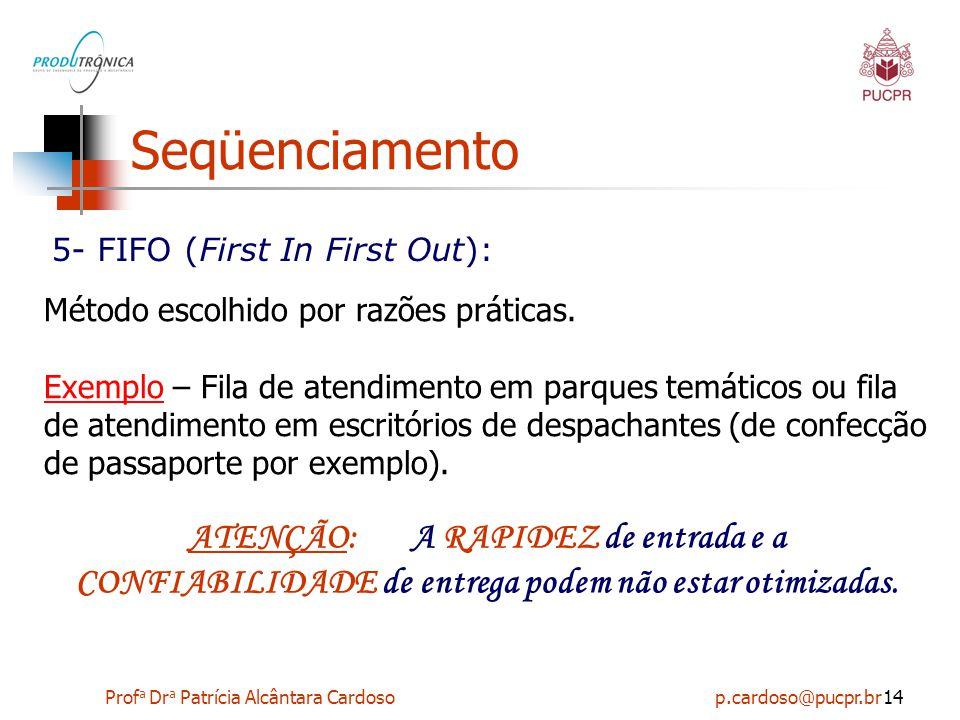 Prof a Dr a Patrícia Alcântara Cardoso p.cardoso@pucpr.br14 Seqüenciamento 5- FIFO (First In First Out): Método escolhido por razões práticas. Exemplo