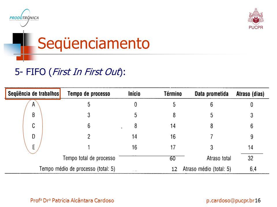 Prof a Dr a Patrícia Alcântara Cardoso p.cardoso@pucpr.br16 Seqüenciamento 5- FIFO (First In First Out): 60 12
