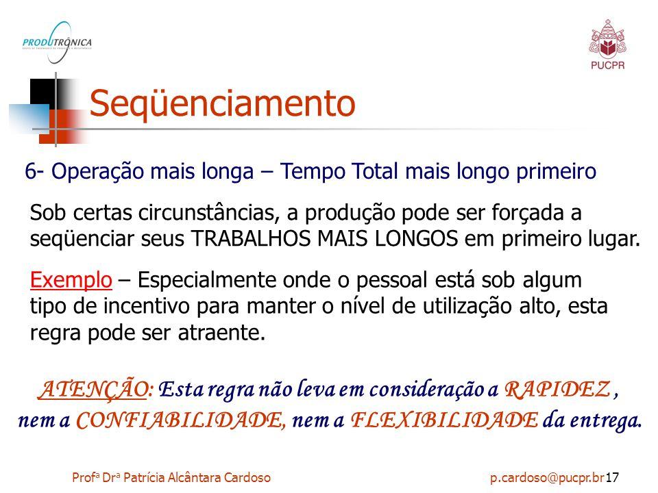 Prof a Dr a Patrícia Alcântara Cardoso p.cardoso@pucpr.br17 Seqüenciamento 6- Operação mais longa – Tempo Total mais longo primeiro Sob certas circuns