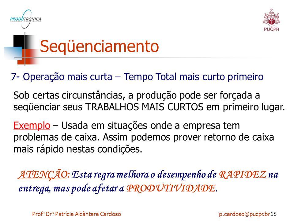 Prof a Dr a Patrícia Alcântara Cardoso p.cardoso@pucpr.br18 Seqüenciamento 7- Operação mais curta – Tempo Total mais curto primeiro Sob certas circuns