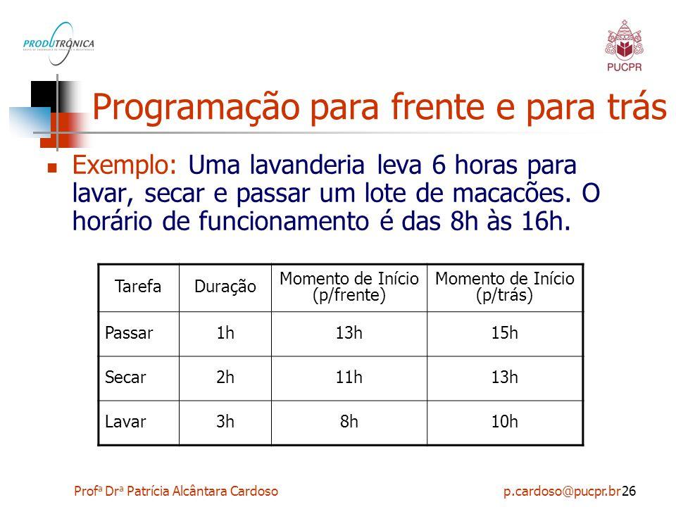Prof a Dr a Patrícia Alcântara Cardoso p.cardoso@pucpr.br26 Programação para frente e para trás Exemplo: Uma lavanderia leva 6 horas para lavar, secar