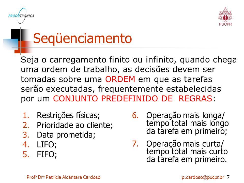 Prof a Dr a Patrícia Alcântara Cardoso p.cardoso@pucpr.br7 Seqüenciamento 1.Restrições físicas; 2.Prioridade ao cliente; 3.Data prometida; 4.LIFO; 5.F