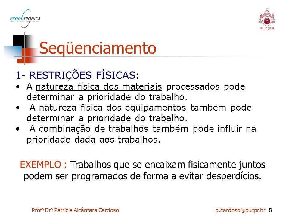 Prof a Dr a Patrícia Alcântara Cardoso p.cardoso@pucpr.br8 Seqüenciamento 1- RESTRIÇÕES FÍSICAS: A natureza física dos materiais processados pode dete