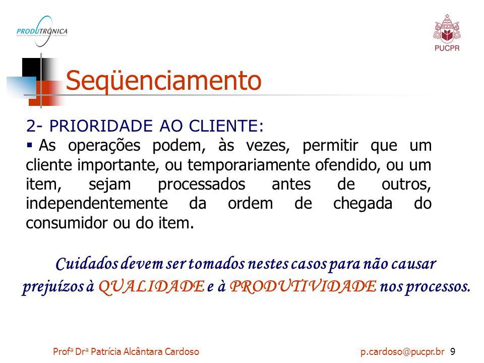 Prof a Dr a Patrícia Alcântara Cardoso p.cardoso@pucpr.br10 Seqüenciamento 3- DATA PROMETIDA: Priorizar pela data prometida significa que o trabalho é seqüenciado de acordo com a data prometida de entrega.